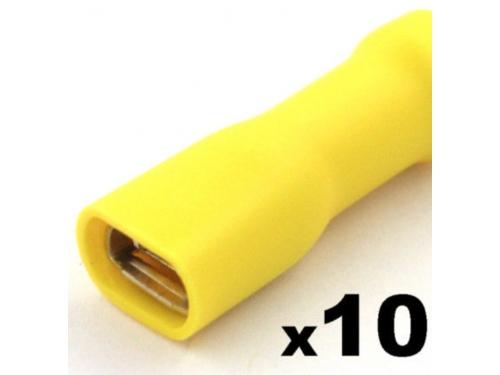 Cosse clip électrique JAUNE femelle 6,3mm isolée