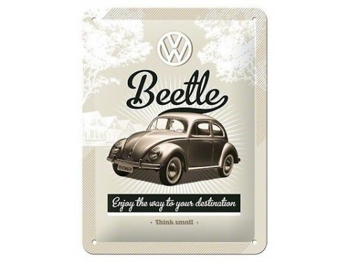 Plaque émaillé 15X20 cm. Collection Volkswagen Beetle