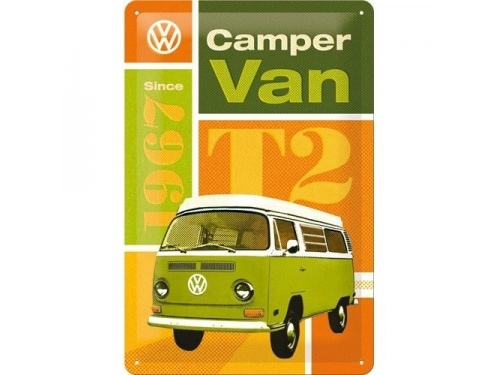 Plaque émaillé 20X30cm. Collection Volkswagen Camper van T2