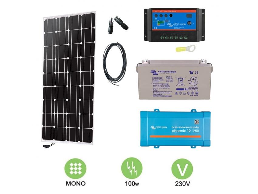 Kit solaire 100W Autonome Mono + Convertisseur
