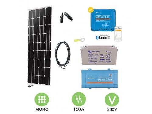 Kit solaire 160W Autonome Mono + Convertisseur 230V