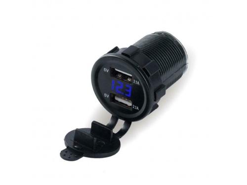 Voltmètre digital bleu et port USB