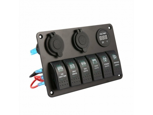 Combo Voltmetre / USB / Allume cigare avec 5 interupteurs