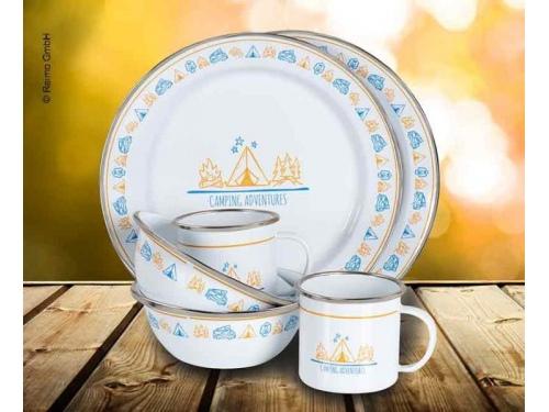 """Set assiettes et mug """"Holiday Travel"""" pour 4 personnes"""
