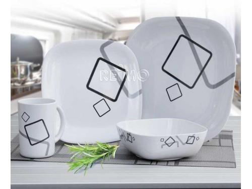 Set de vaisselle Cuneo en mélamine 16 pièces pour 4 personnes