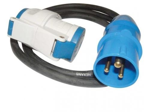 Câble adaptateur mâle CEE / Femelle CEE + schuko femelle