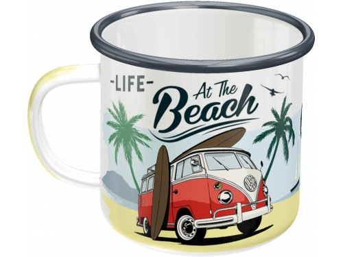 Tasse en émail. Nostalgic-Art. Volkswagen Life at the Beach