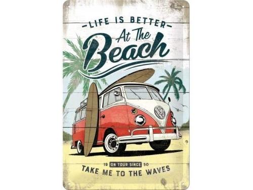 Plaque émaillé 20X30cm. Collection Volkswagen Life is better at the beach.