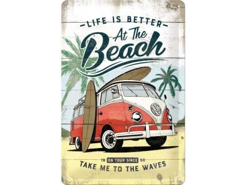 Plaque émaillée 20X30 cm. Collection Volkswagen Life is better at the beach.