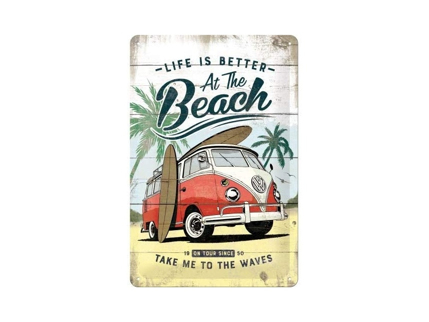 Plaque émaillé 20X30cm. Collection Volkswagen Life is better at the beach.