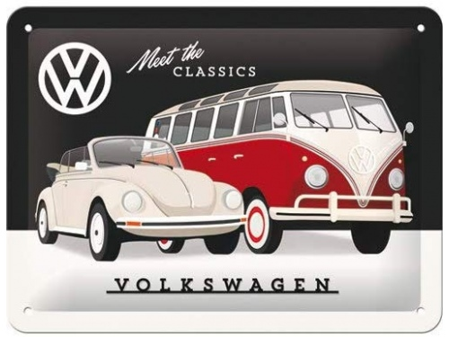 Plaque émaillée 30X40 cm. Collection Volkswagen Meet the Classics