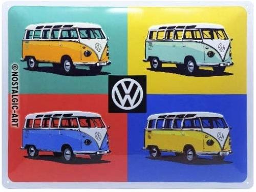 Plaque émaillée 30X40 cm. Collection Volkswagen Multicolor