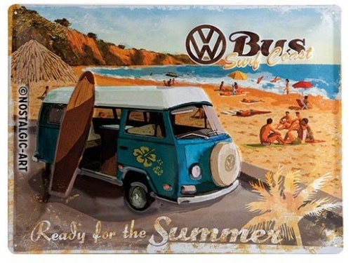 Plaque émaillée 30X40 cm. Collection Volkswagen Bus Surf Coast