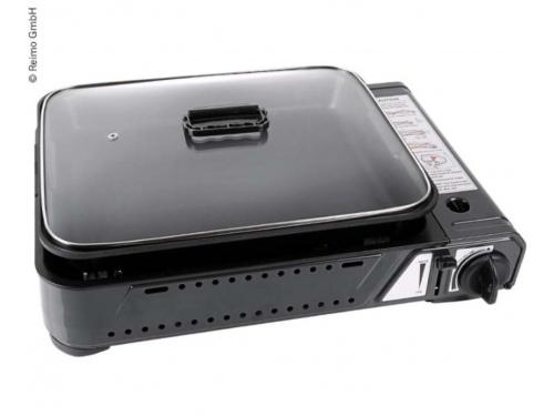 Cuisinière à gaz BURNY PAN avec plat intégré et couvercle en verre.