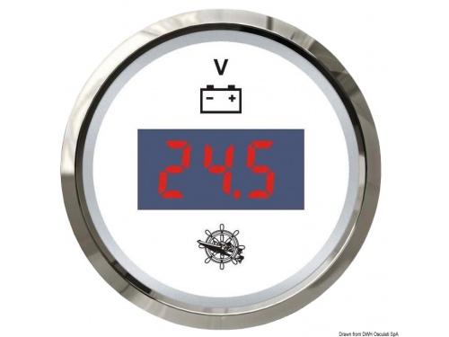 Voltmètre ELEGANT numérique 8/32 V blanc/polie