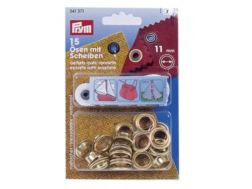 Oreillets laiton + rondelles 11mm - KIT DE 15 PIECES