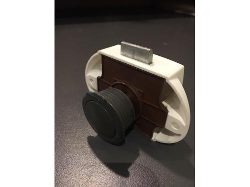 Push lock gris foncé 19 mm - Lot de 10