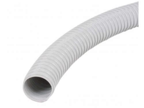 Tuyau avec spirale en PVC blanc 26 mm