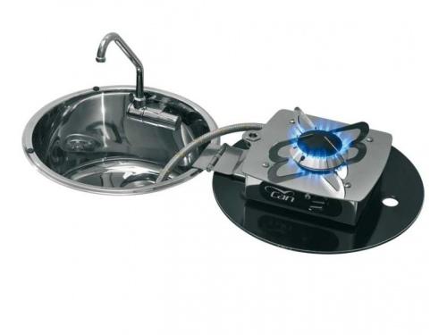 Combiné gazinière 1 feu et évier rond refermable