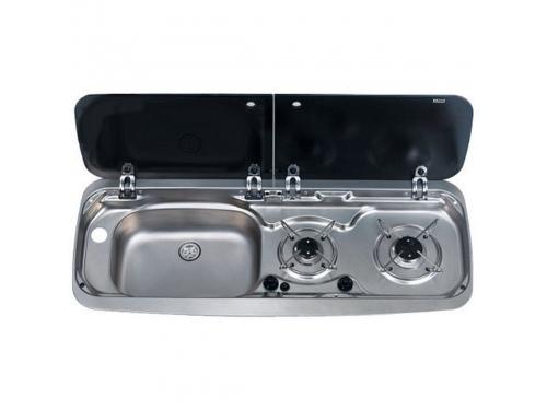 Combiné évier - gaz avec couvercles en verre rabattable Smev.  Cuve Gauche