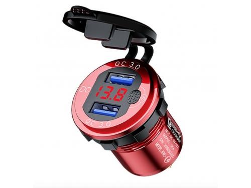 Voltmètre digital et double port USB ANODISE ROUGE