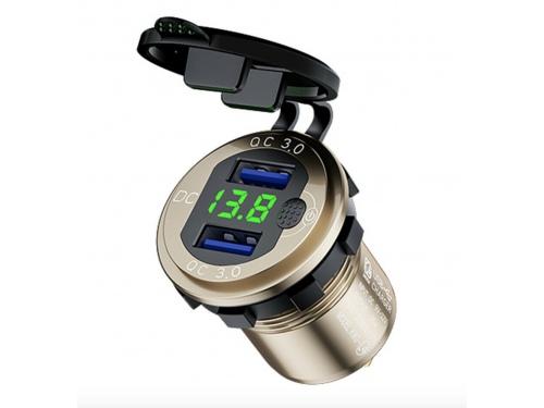 Voltmètre digital et double port USB ANODISE OR
