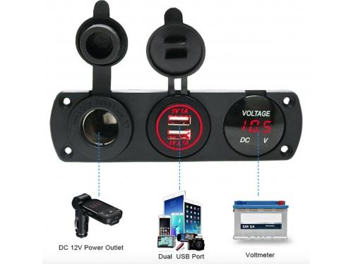Combo Voltmetre / USB / Allume cigare