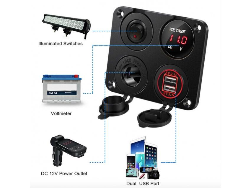 Combo Voltmetre / USB / Allume cigare avec 5 interrupteurs