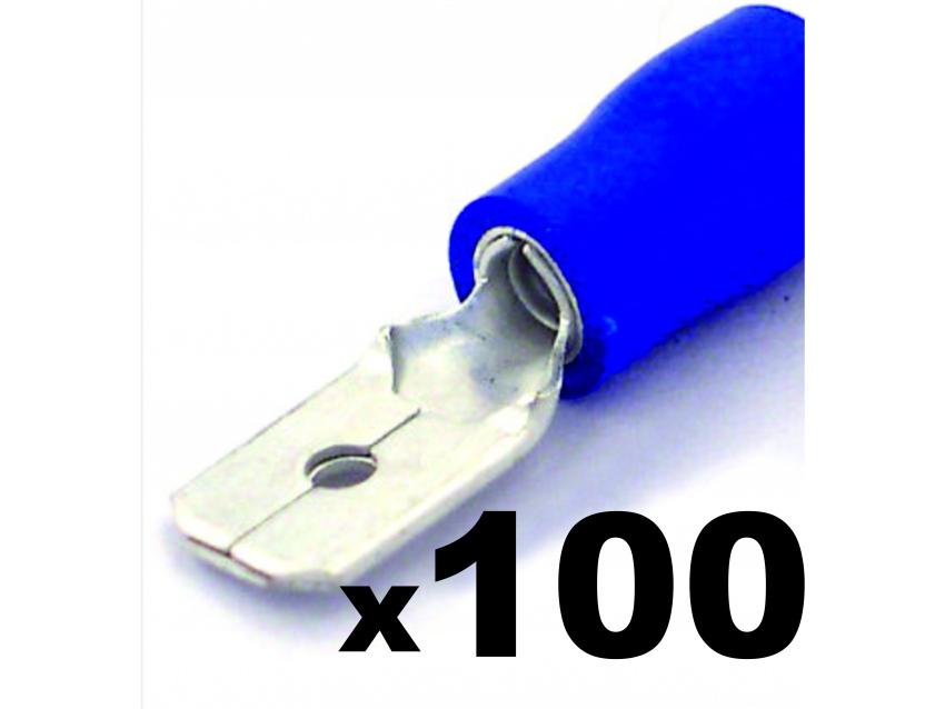 Cosse clip électrique BLEUE mâle 6,3mm