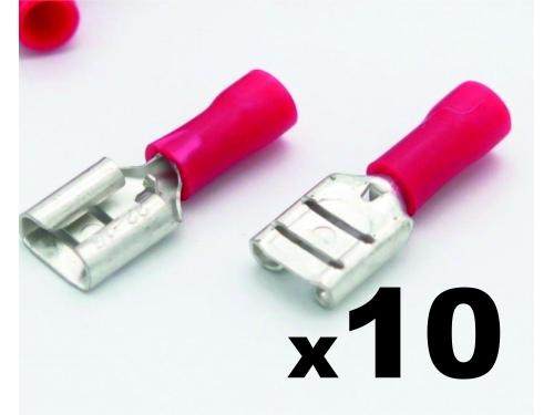 Cosse clip électrique ROUGE femelle 6,3mm isolée