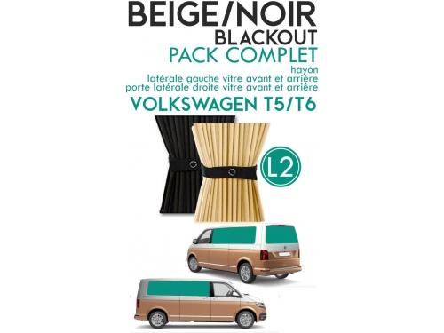 PACK COMPLET. Rideaux occultant beige/noir sur rail pour Volkswagen Transporter T5 T6 L1