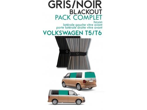 PACK COMPLET. Rideaux occultant gris/noir sur rail pour Volkswagen Transporter T5 T6