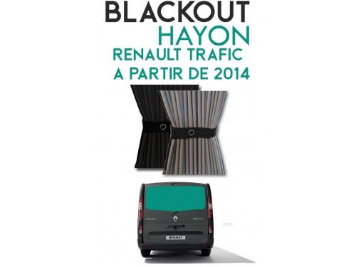 Hayon. Rideaux occultant gris noir sur rail pour Renault Trafic à partir de 2014