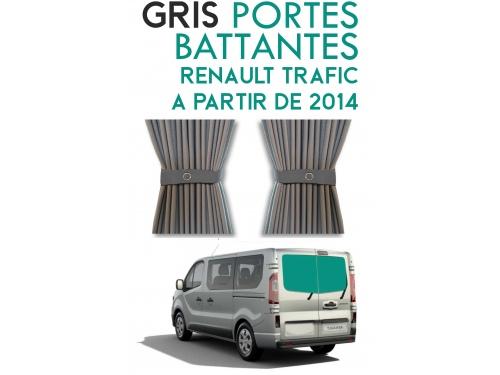 Portes Battantes. Rideaux occultant gris sur rail pour Renault Trafic à partir de 2014