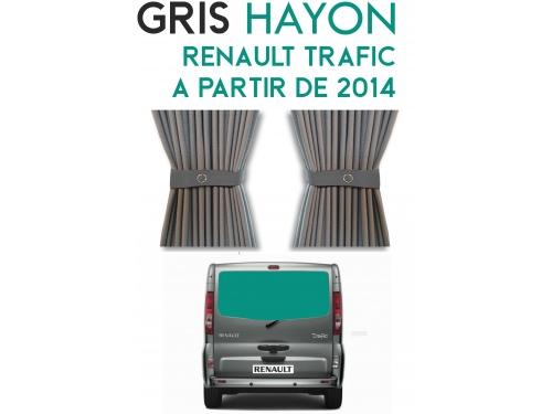 Hayon. Rideaux occultant gris sur rail pour Renault Trafic à partir de 2014
