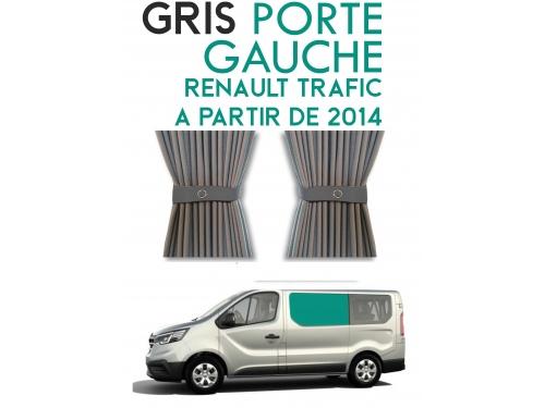 Latérale gauche. Rideaux occultant gris sur rail pour Renault Trafic à partir de 2014