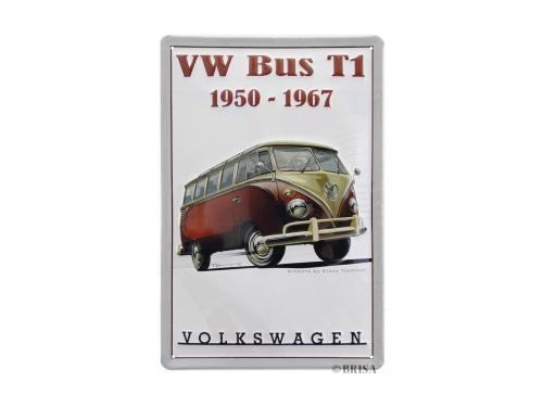 Plaque émaillée 20 x 30 cm. Collection Volkswagen bus VW T1 rouge et blanc de 1950 à 1967