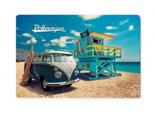 Plaque émaillée 20 x 30 cm. Collection Volkswagen BEACH LIFE