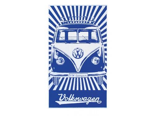 SERVIETTE DE PLAGE  VW T1 BUS BEACH BLEU