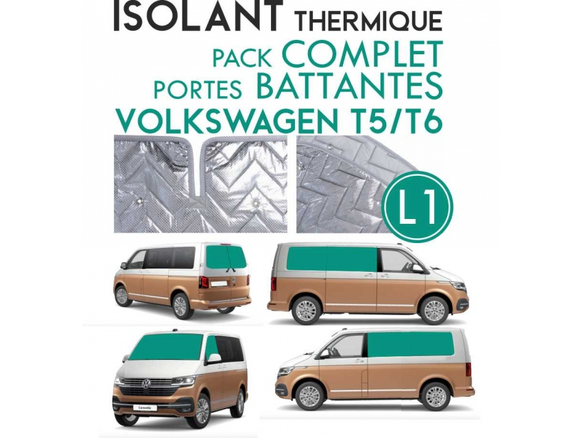 9 Pièces. Portes battantes. L1H1.ISOLANT OCCULTANT THERMIQUE ALUMINIUM VOLKSWAGEN TRANSPORTER T5 T6.